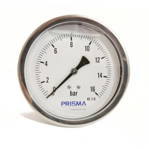 Bourdon Pressure Gauge, 100 mm stainless steel case, Back brass connection